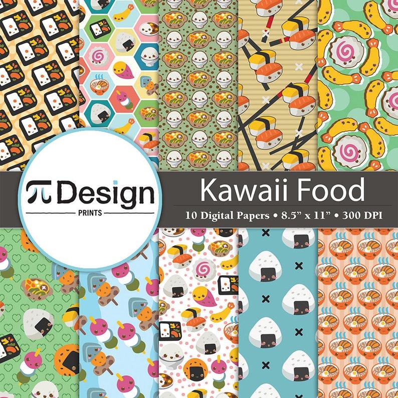 93d05a428 Kawaii Food 8.5x11 Digital Paper 10 Pack