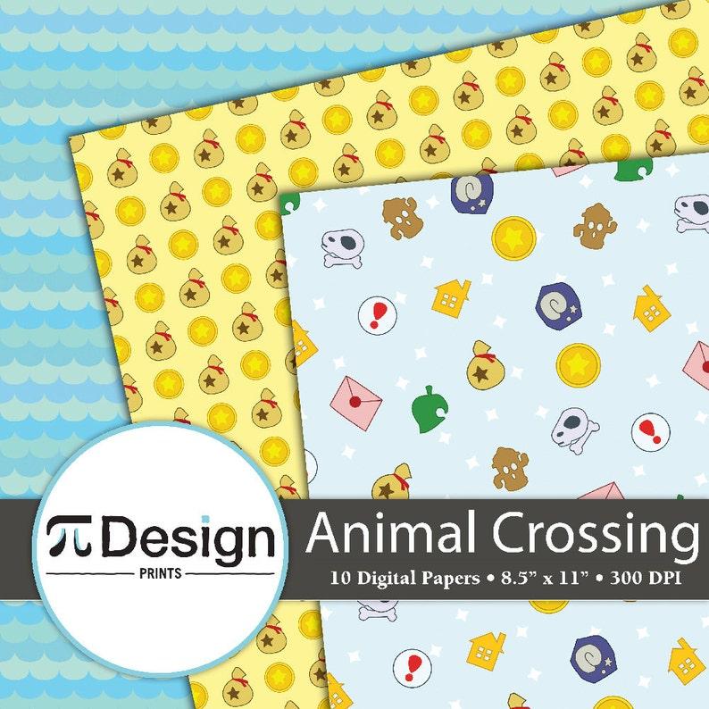 Animal Crossing Pattern Cute Video Game Pattern 8.5x11 Animal Crossing New Leaf Digital Paper Pack of 10 Video Game Digital Paper