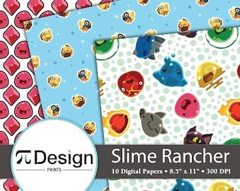 "8.5""x11"" Slime Rancher 10 Pack Digital Papers   RPG Slime Monsters   Video Game Patterns   Digital Instant Download   Chickadoo   Pink Slime"
