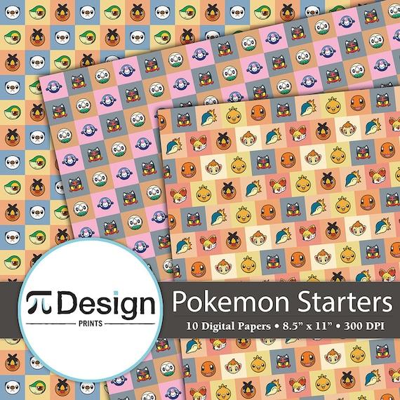 starter pokemon 8.5x11 digital paper 10 pack | etsy