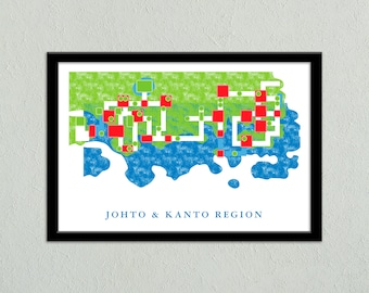 Johto and Kanto Region World Map Print   Travel Poster   Geek Gift for Gamer   Video Game World Map Poster   Digital Download
