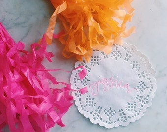 Personalized Hand Lettered Paper Doily Placecards
