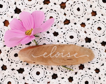 Personalized Hand Lettered Driftwood Placecards
