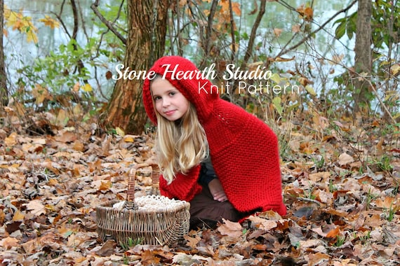 Red Riding Hood Cape Patternknitted Cape Patterngirls Cape Etsy