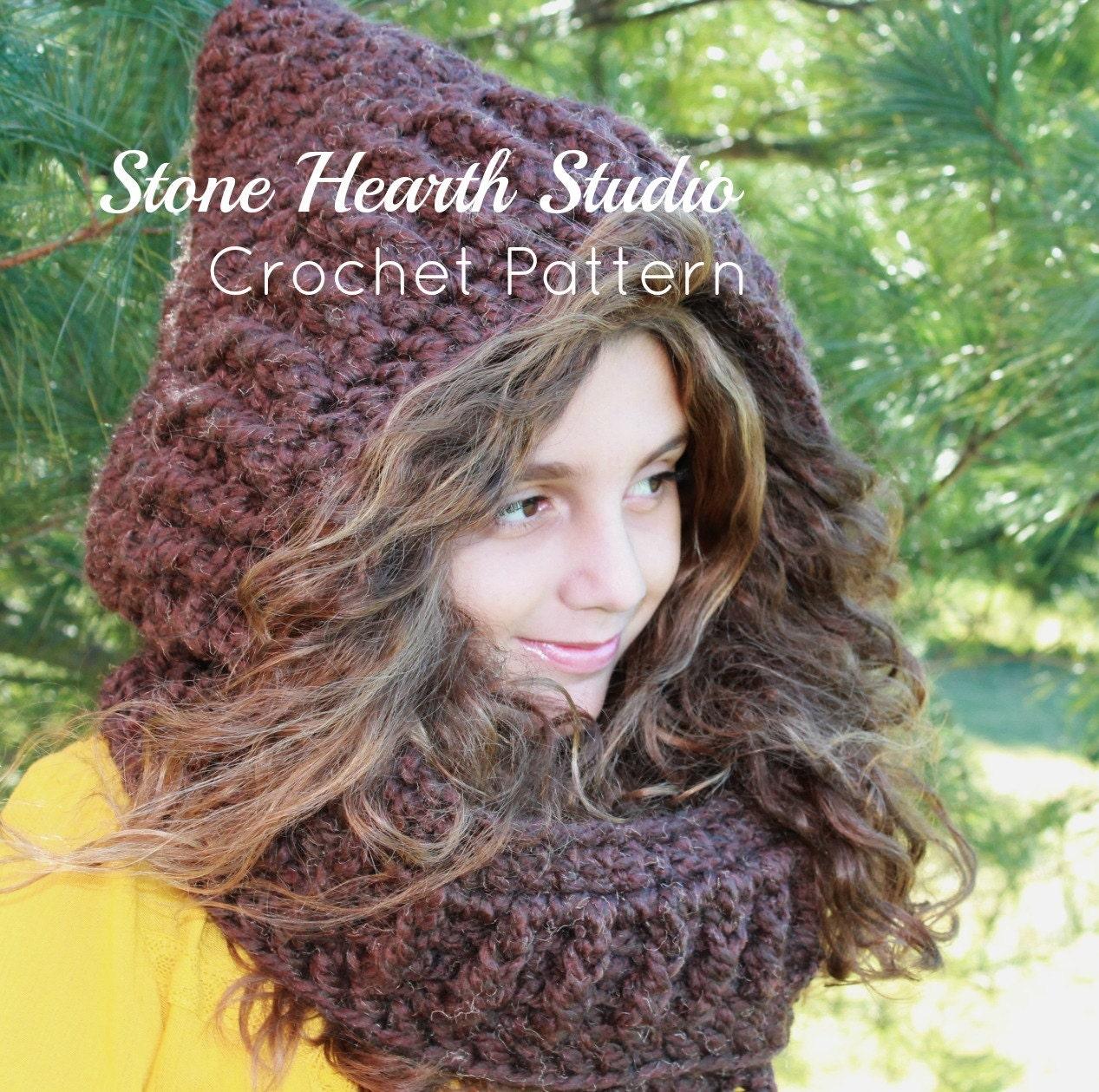 Bryanna Crochet Hooded Scarf Patternthick Winter Hoodcrochet Etsy
