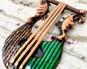 Vintage Matisse Rare Copper and Enamel Harp Brooch, Book Piece