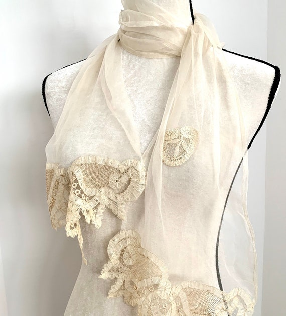 """Antique Victorian French 65"""" Georgette and Brussel"""