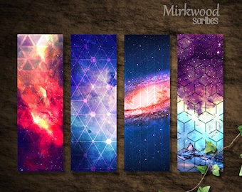 Printable Galaxy Bookmarks |  Set of 4 Galaxy and Geometric Pattern Bookmarks |  Modern Trendy Boho Galaxy Printable | School Supplies