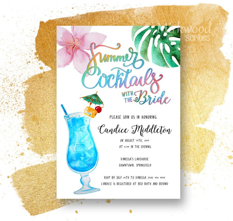 5fcf72b2b Summer Cocktails with the Bride Shower Invitation Cocktail