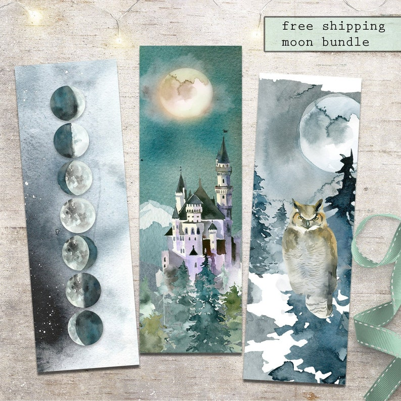 Moonlight Fantasy Bookmark Bundle, Special Offer Pricing, Fantasy Forest  Castle, Moon Phases, Owl Bookmark
