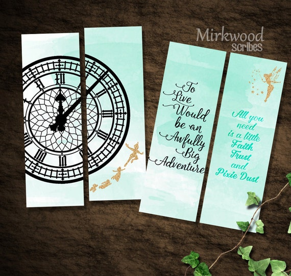 Peter Pan Bookmarks Neverland Bookmarks Set of 4 Printable | Etsy