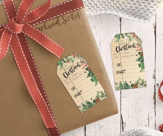 Library Card Printable Holiday Gift Tags Bookish Christmas Etsy