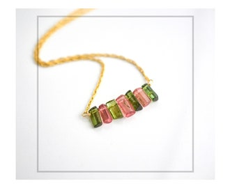 Watermelon Tourmaline Necklace, Dark Green Tourmaline Stick Necklace, Gemstone Stick Necklace