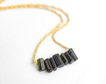 Green Watermelon Tourmaline Necklace, Dark Green Tourmaline Stick Necklace, Gemstone Stick Necklace