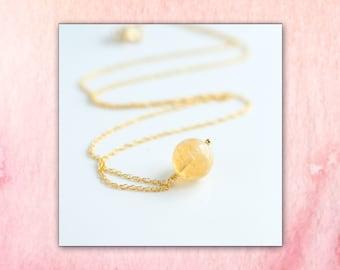 Citrine Necklace, Yellow Citrine Charm Necklace, Genuine Citrine, Citrine Crystal, November Birthstone Jewelry Gift for Her