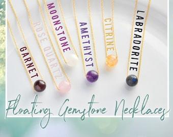 Floating Gemstone Necklace, Garnet, Rose Quartz, Moonstone, Amethyst, Citrine, Labradorite, 14k Gold Filled or 925 Sterling Silver Chain
