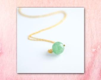 Green Aventurine Necklace, Green Gemstone Charm Pendant Necklace