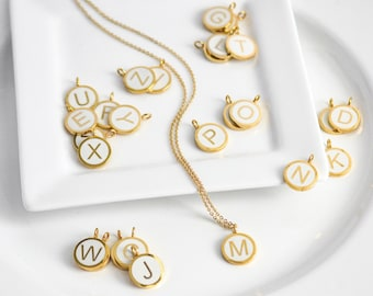Gold Letter Necklace, Gold Initial Necklace, Letter Charm Necklace, Initial Charm Necklace, Uppercase Jewelry, Letter Necklace