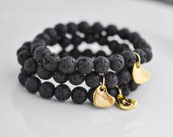 Lava Bead Bracelet, Essential Oil Jewelry for Women, Black Lava Bead Bracelets, Gold Heart Charm Bracelet