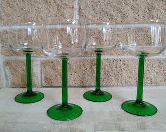 Decorative Arts Vintage Monogrammed Green Top Solid Clear Stem Hock Wine Glass Germany Without Return