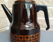 West Bend Le Provencal Coffee Pot - Brown Enamelware Coffee Pot with Spade Mushroom Design - Vintage 1970 39 s Kitchen - Retro Cool