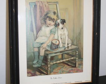 """USA Lithograph, """"The Broken Drum""""; little girl and dog picture; Art Resources Int'l, LTD; 1992 copyright; limited edition litho"""