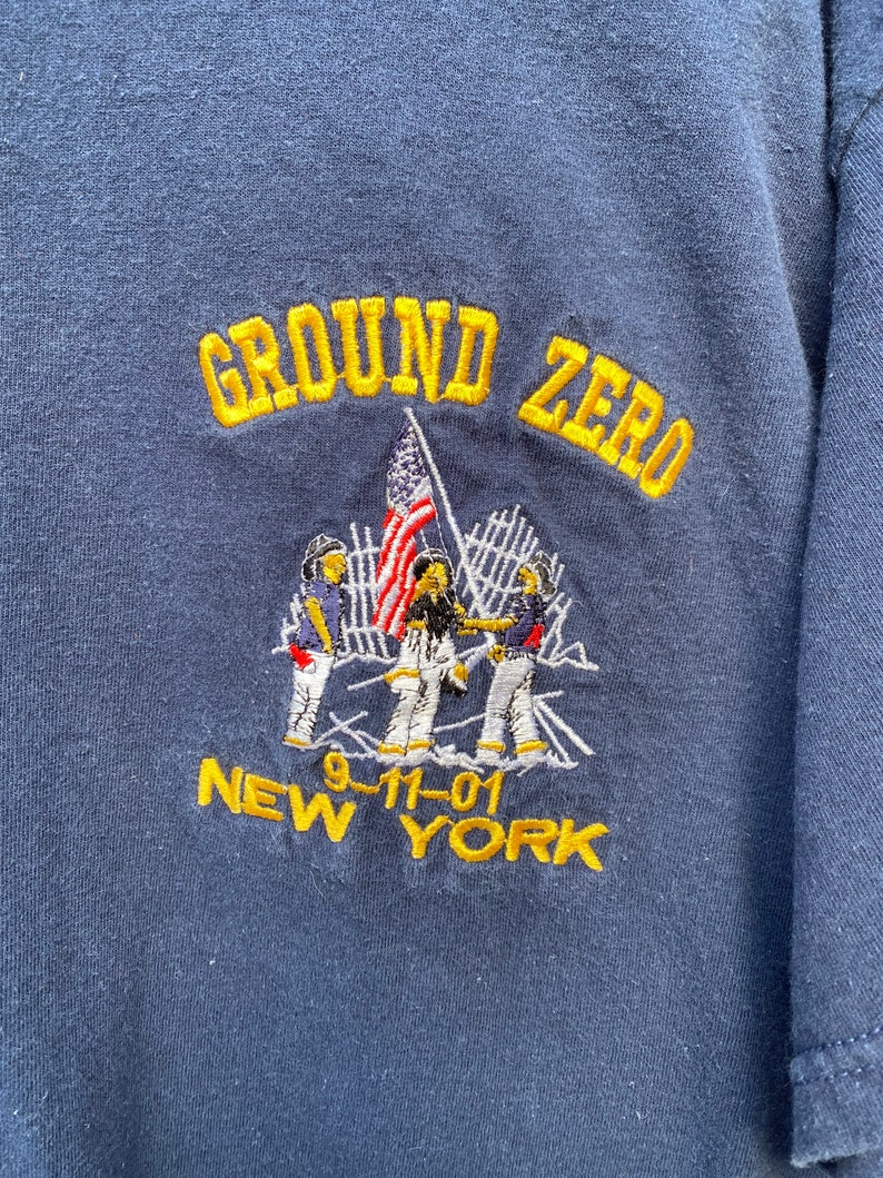Vintage Twin Towers 911 Embroidered Shirt Ground Zero