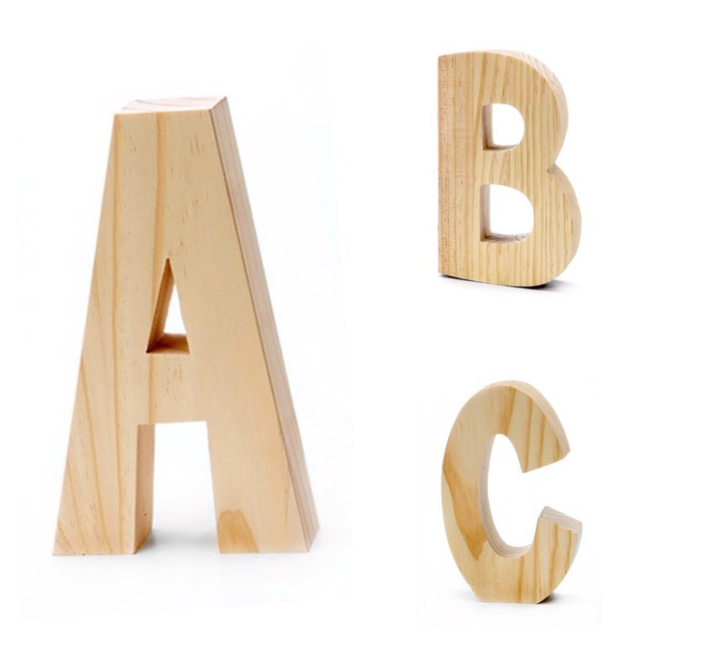 Unfinished Chunky Wood Letters 775 Inch Wood Letter Self Standing Letter Display Unfinished Wood