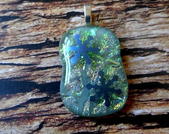 FUSED GLASS PENDANT -Dichroic  Silver and Green with Blue Snowflake Decals - Silver Plated Bail
