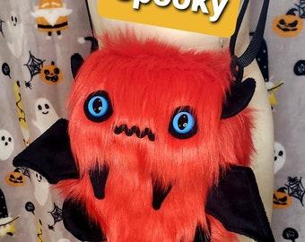 Spooky the Red& Black Monster Bag/Monster Purse/Monster Messenger Bag/Kawaii Fluffy Bag/Cute Fluffy Bag/Fur Purse/Fur Bag/Fur Messenger Bag