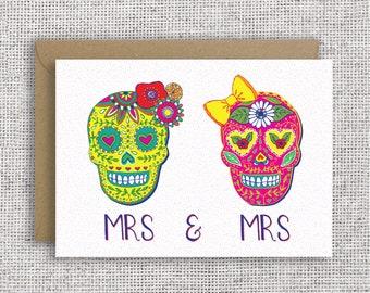 ff27bd35 Mrs & Mrs Mexican Wedding Card   Sugar Skulls, lgbt wedding, lgbtq wedding,  lesbian wedding, lesbian card, engagement, Mexico