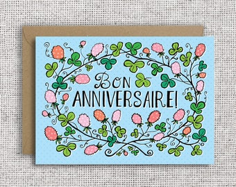 French birthday card etsy bon anniversaire french happy birthday card french birthday bilingual birthday floral card botanical clover cute birthday card m4hsunfo