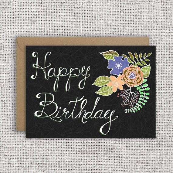 Carte De Joyeux Anniversaire Floral Ranunculus Carte Etsy