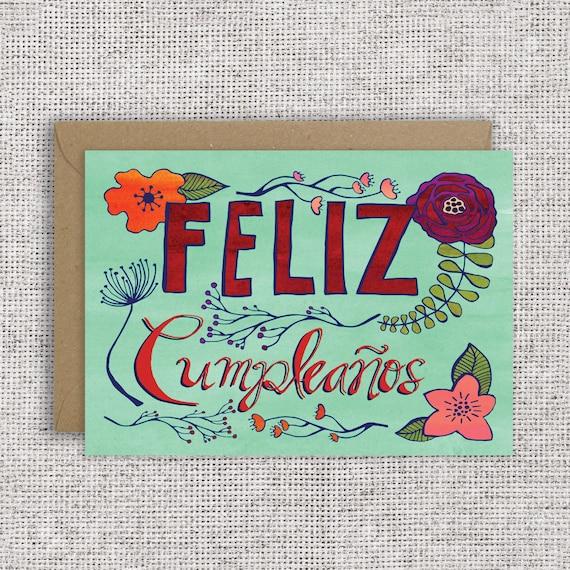 Feliz Cumpleaos Card Spanish Happy Birthday Card Floral Etsy