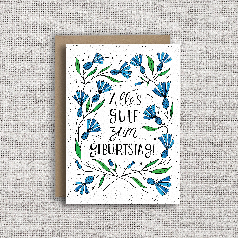 Alles Gute Zum Geburtstag German Birthday Card Floral