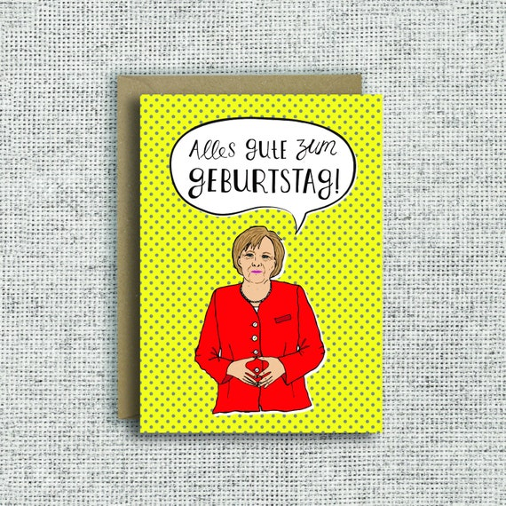 Angela Merkel Birthday Card German Birthday Card Alles Gute Etsy