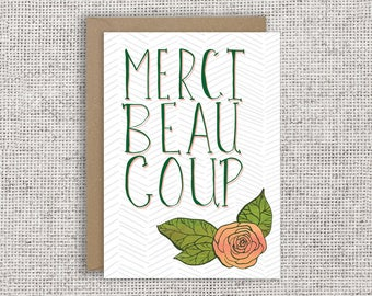 Merci Beaucoup Card | French thank you card, floral hand-lettered card, bilingual, appreciation, just because, friendship, merci, French