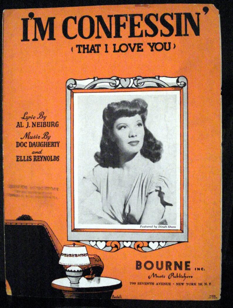Im Confessin That I Love You 1930 Bourne Nyc Doc Daugherty Allen Neiburg Ellis Reynolds Dinah Shore Photo