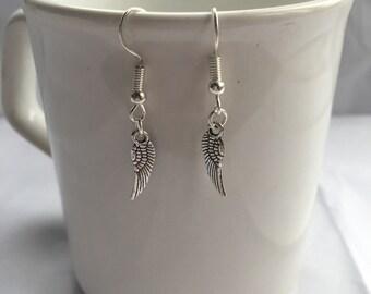 Silver small angel wing earrings ( guardian angel )