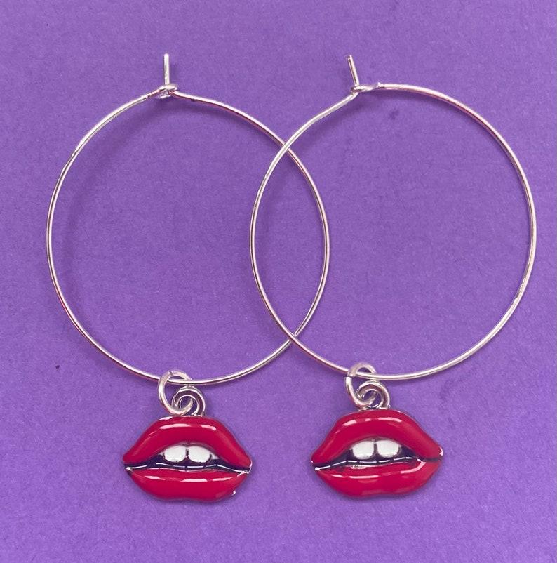 Red Lip Earrings on Silver Hoops