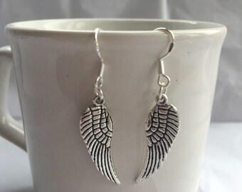 Silver large angel wing earrings ( guardian angel)