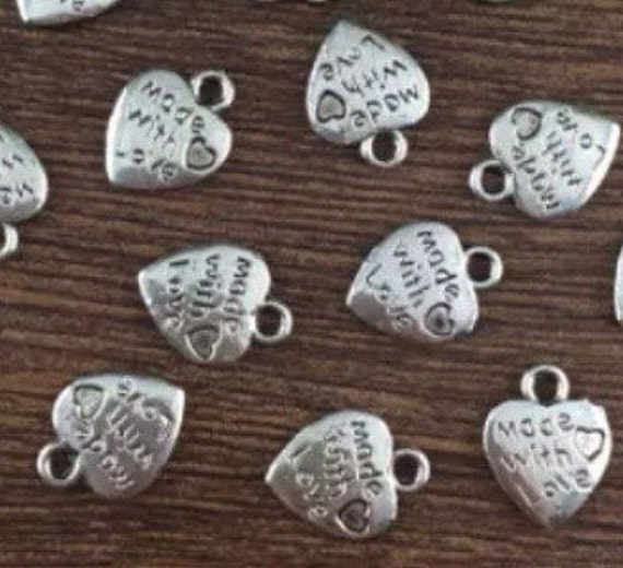 """25 x Tibetan Style Heart Charms /""""Made with Love/"""" Antique Silver"""