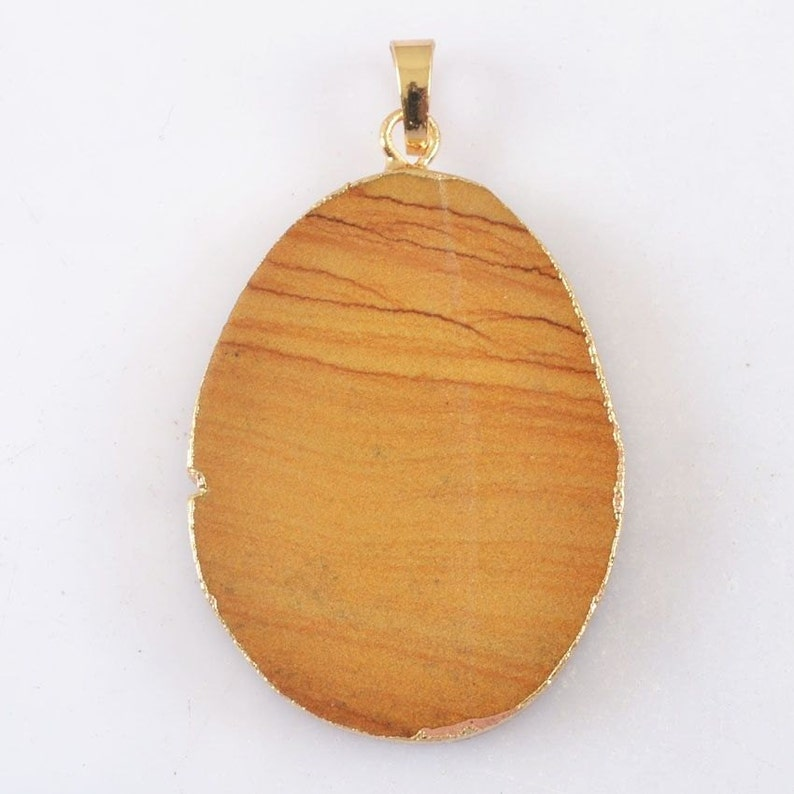 ID GEO-46 Natural Pilbara Hill Pendant Electroplated Gold Edging 42mm by 32mm by 5mm Jewelry Making Supplies