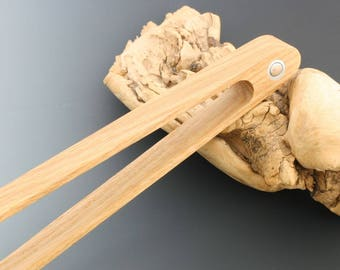 Wooden toaster tongs with magnet, handcrafted in white oak.