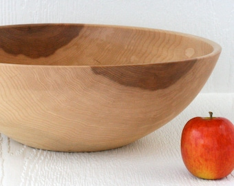 Large handmade salad serving bowl in silver maple.
