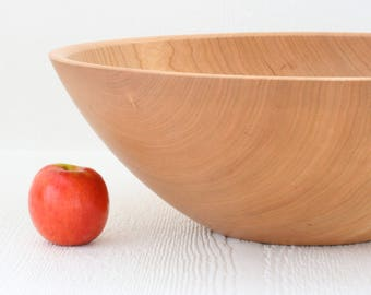 "Large wood salad bowl, 17"" solid cherry, handmade in Minnesota."