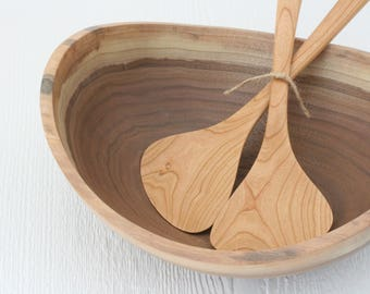 Salad bowl and serving paddles, eco friendly walnut and cherry wood, 1 bowl & paddles, sustainable handmade table ware.