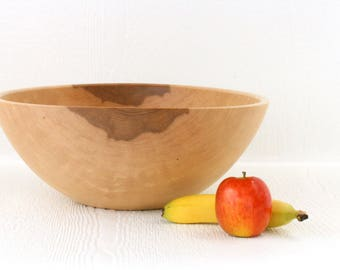 Large maple salad bowl, eco friendly serving bowl, handmade kitchen and table ware.