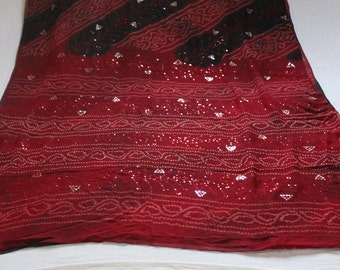 Red Sequin Sarivintage Sareeindian Scarfsarongsari Wrapart Deco Fabricrecycled Sarikimono Fabricsari Curtainshijab5 Yards Fabric
