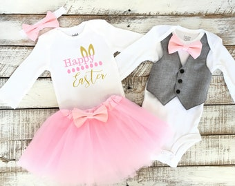 d383d0a6b Brother Sister Easter Baby Outfits, Boy Girl Matching, Happy Easter, Bunny  Ears, Vest, Light Pink Bow Tie, Pink Tutu Skirt, Pastel Pink